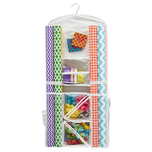 Hanging gift wrap organizer from the Container Store
